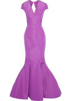 Zac Posen Woman Open-back Fluted Silk Duchesse-satin Gown Lavender