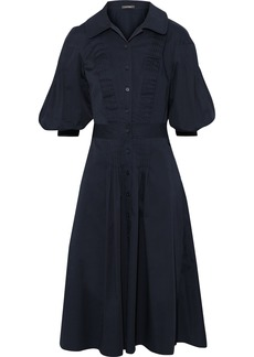 Zac Posen Woman Pintucked Cotton-blend Poplin Dress Navy