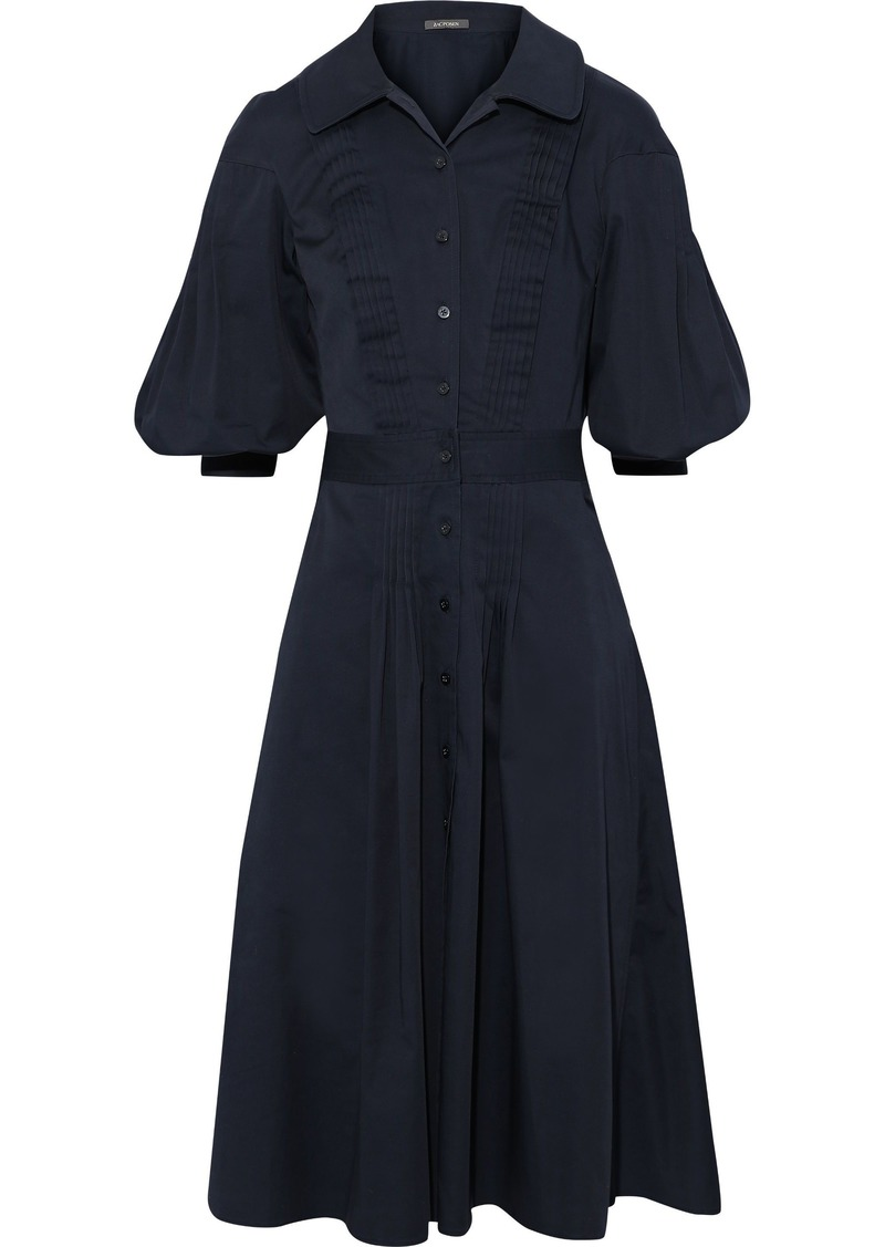 Zac Posen Woman Pintucked Cotton-blend Poplin Dress Navy