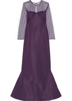 Zac Posen Woman Pintucked Tulle And Duchesse Silk-satin Gown Purple