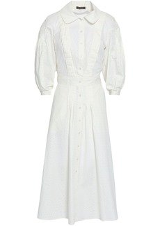 Zac Posen Woman Pleated Broderie Anglaise Cotton And Silk-blend Midi Shirt Dress Off-white