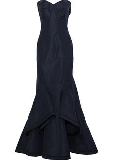 Zac Posen Woman Strapless Draped Silk-faille Gown Navy
