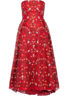 Zac Posen Woman Strapless Embellished Silk-chiffon Midi Dress Claret