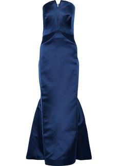 Zac Posen Woman Strapless Fluted Duchesse-satin Gown Indigo