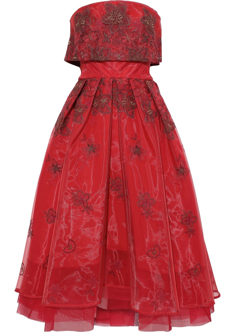 Zac Posen Woman Strapless Layered Embroidered Organza Gown Red