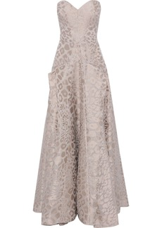 Zac Posen Woman Strapless Pleated Leopard-jacquard Gown Neutral