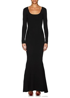 Zac Posen Women's Braid-Detailed Rib-Knit Long-Sleeve Gown
