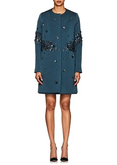 Zac Posen Women's Embellished Gazar Collarless Coat