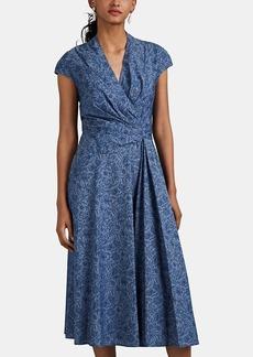 Zac Posen Women's Floral Cotton Chambray Dress