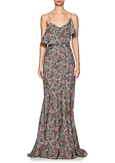Zac Posen Women's Floral Cotton Poplin Trumpet Gown