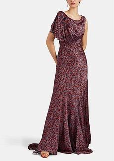 Zac Posen Women's Liberty-Print Silk Gathered-Shoulder Gown