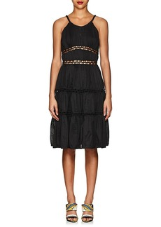 Zac Posen Women's Ruched Cotton-Blend Tiered Dress