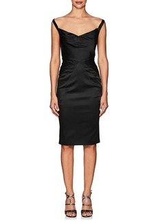 Zac Posen Women's Satin Off-The-Shoulder Sheath Dress