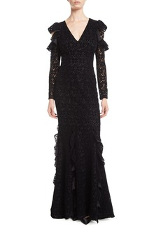 ZAC Zac Posen Carola Lace Gown w/ Cold Shoulders