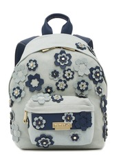 ZAC Zac Posen Eartha Leather Trimmed Hex Floral Applique Small Backpack