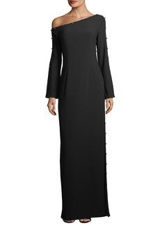 ZAC Zac Posen Louise Metallic Stud One-Shoulder Gown