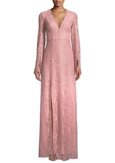 ZAC Zac Posen Viv Slit-Sleeve Lace Gown