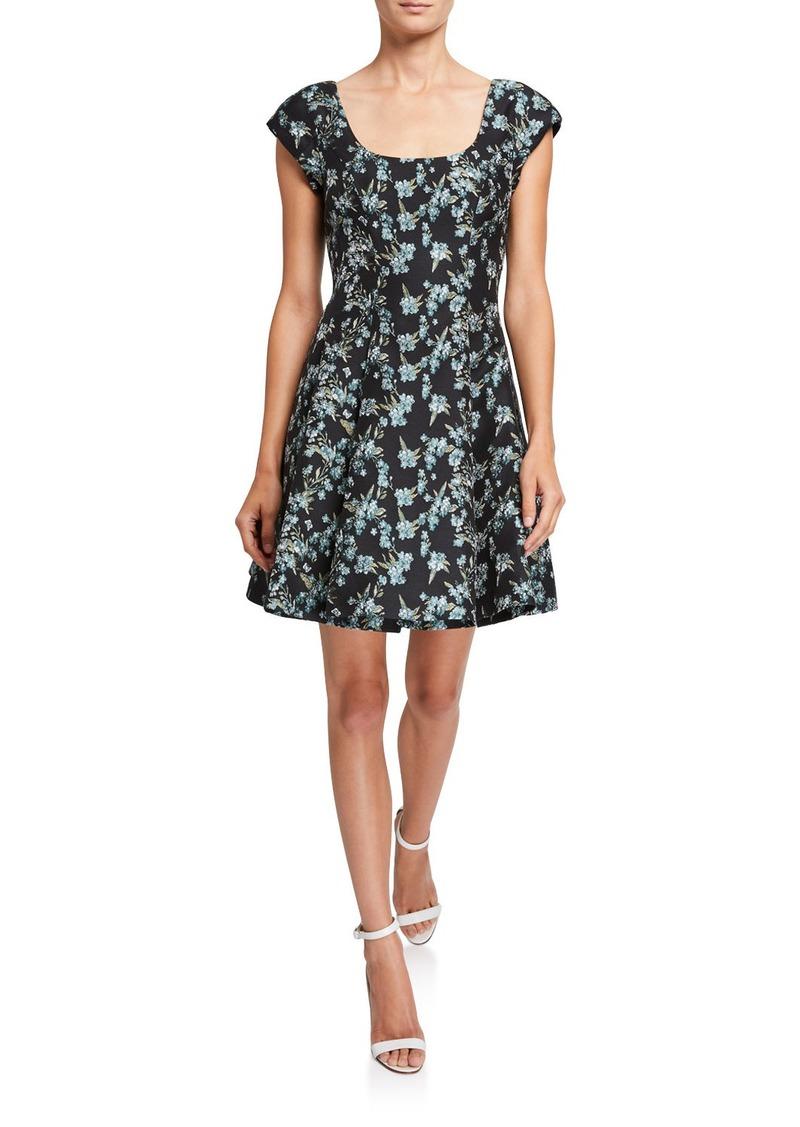 ZAC Zac Posen Wildflower Jacquard Cap-Sleeve Dress