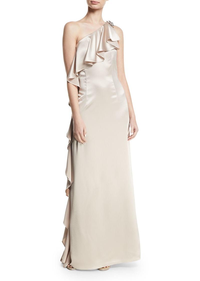 ZAC Zac Posen Anne Asymmetric-Neck Ruffled Gown