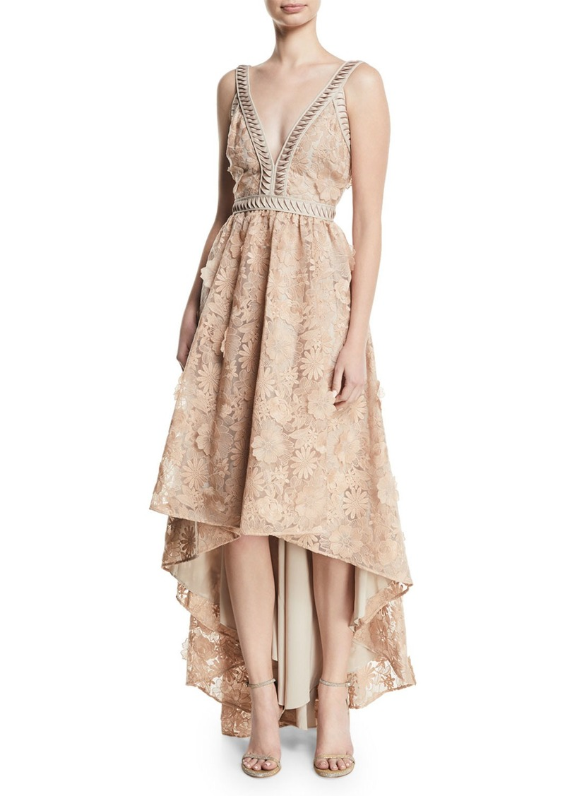 ZAC Zac Posen Bettina V-Neck High-Low Gown
