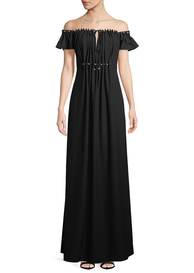 ZAC Zac Posen Claudine Off-the-Shoulder Keyhole Gown