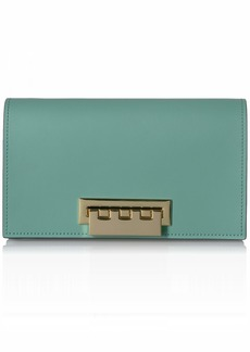 Zac Posen Earthette Clutch-Colorblock w/Floral Applique-Green