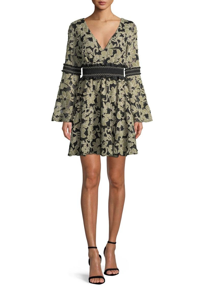 ZAC Zac Posen Mika Floral Mini Dress w/ Smocked Insets