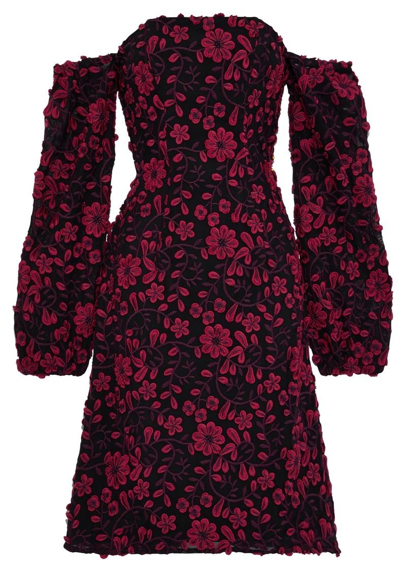 Zac Zac Posen Woman Caro Off-the-shoulder Floral-appliquéd Mesh Dress Black