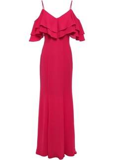 Zac Zac Posen Woman Cold-shoulder Tiered Stretch-crepe Gown Crimson