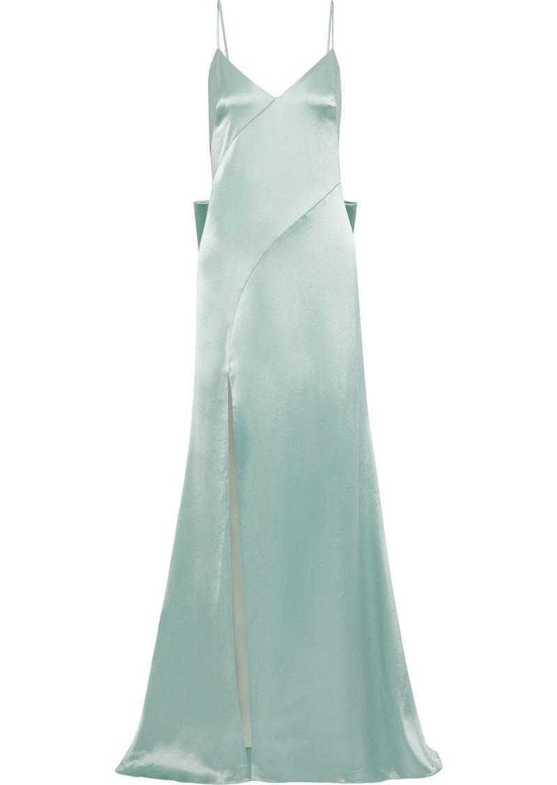 Zac Zac Posen Woman Eileen Bow-embellished Duchesse-satin Gown Mint