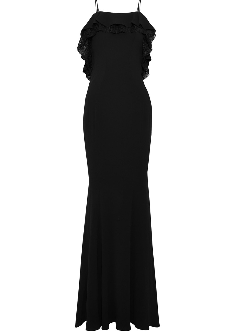 Zac Zac Posen Woman Everly Ruffled Lace-trimmed Crepe Gown Black