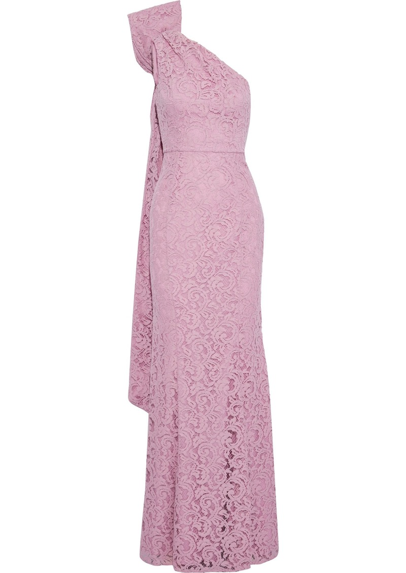 Zac Zac Posen Woman Flora One-shoulder Bow-embellished Corded Lace Gown Pink