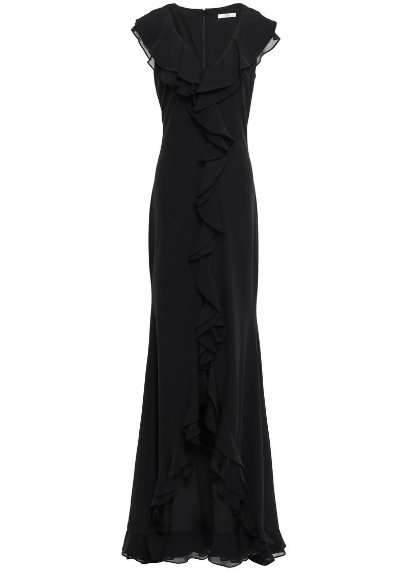 Zac Zac Posen Woman Georgette-paneled Stretch-crepe Gown Black