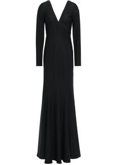 Zac Zac Posen Woman Jemmie Fluted Stretch-twill Gown Black