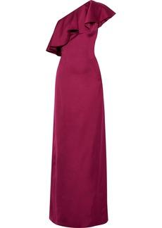 Zac Zac Posen Woman Kadence One-shoulder Ruffled Duchesse-satin Gown Magenta