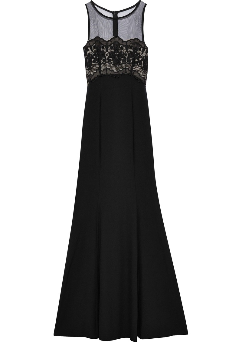 Zac Zac Posen Woman Ken Tulle And Guipure Lace-paneled Crepe Gown Black