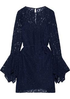 Zac Zac Posen Woman Lena Belted Cotton-blend Corded Lace Mini Dress Navy