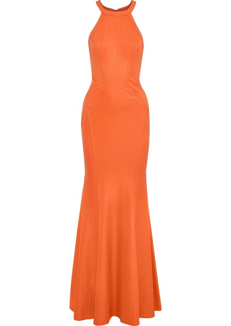 Zac Zac Posen Woman Lisa Fluted Ponte Gown Orange