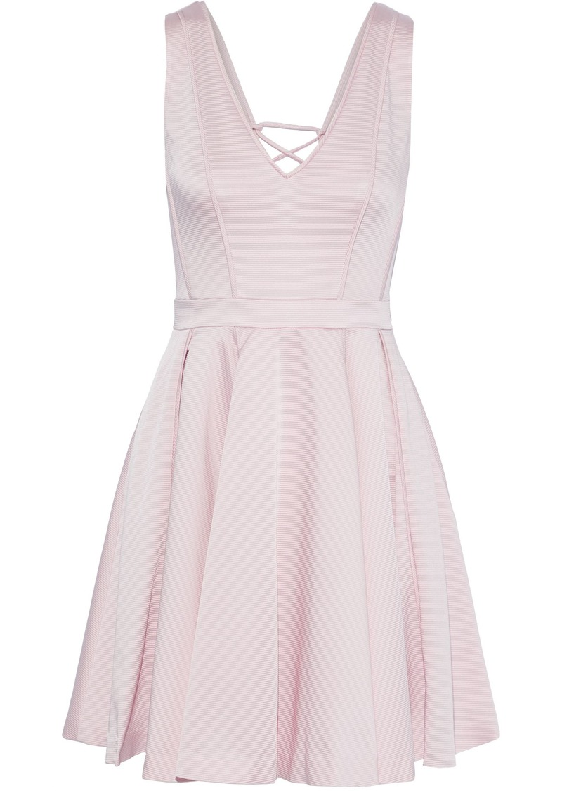 Zac Zac Posen Woman Lori Lace-up Pleated Satin-faille Mini Dress Baby Pink
