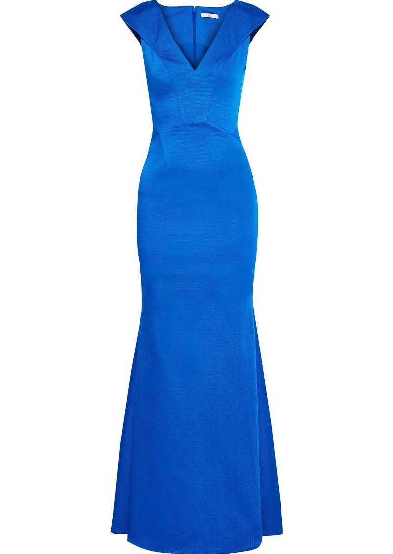 Zac Zac Posen Woman Nina Fluted Satin-faille Gown Azure