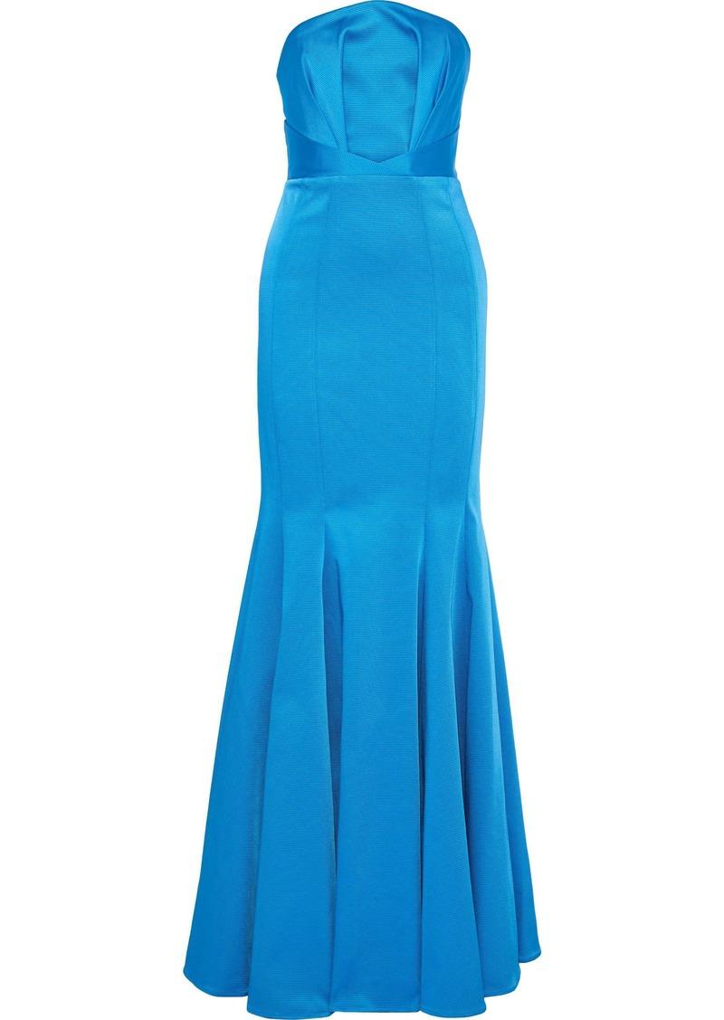 Zac Zac Posen Woman Strapless Pleated Faille Gown Azure