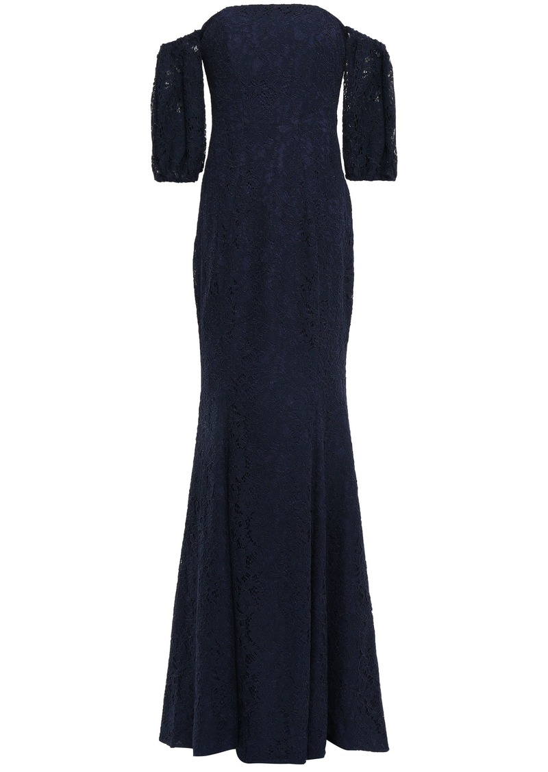 Zac Zac Posen Woman Off-the-shoulder Corded Lace-paneled Stretch-crepe Gown Navy