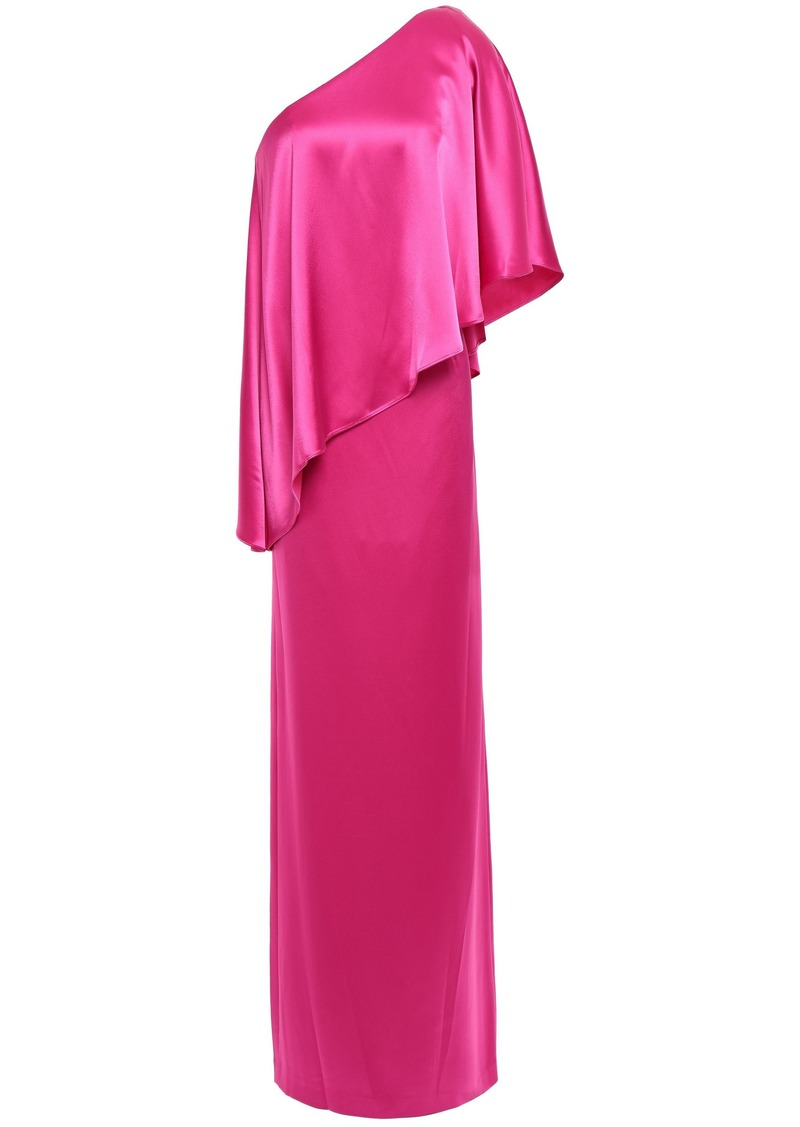 Zac Zac Posen Woman One-shoulder Layered Satin-crepe Gown Fuchsia