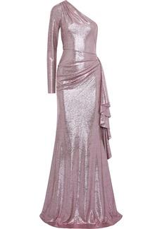Zac Zac Posen Woman Ray One-shoulder Draped Lamé Gown Lavender