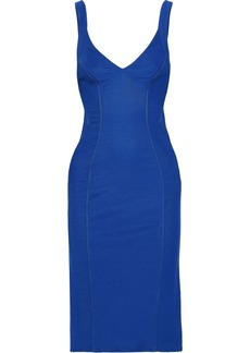 Zac Zac Posen Woman Ruched Paneled Ponte Dress Blue