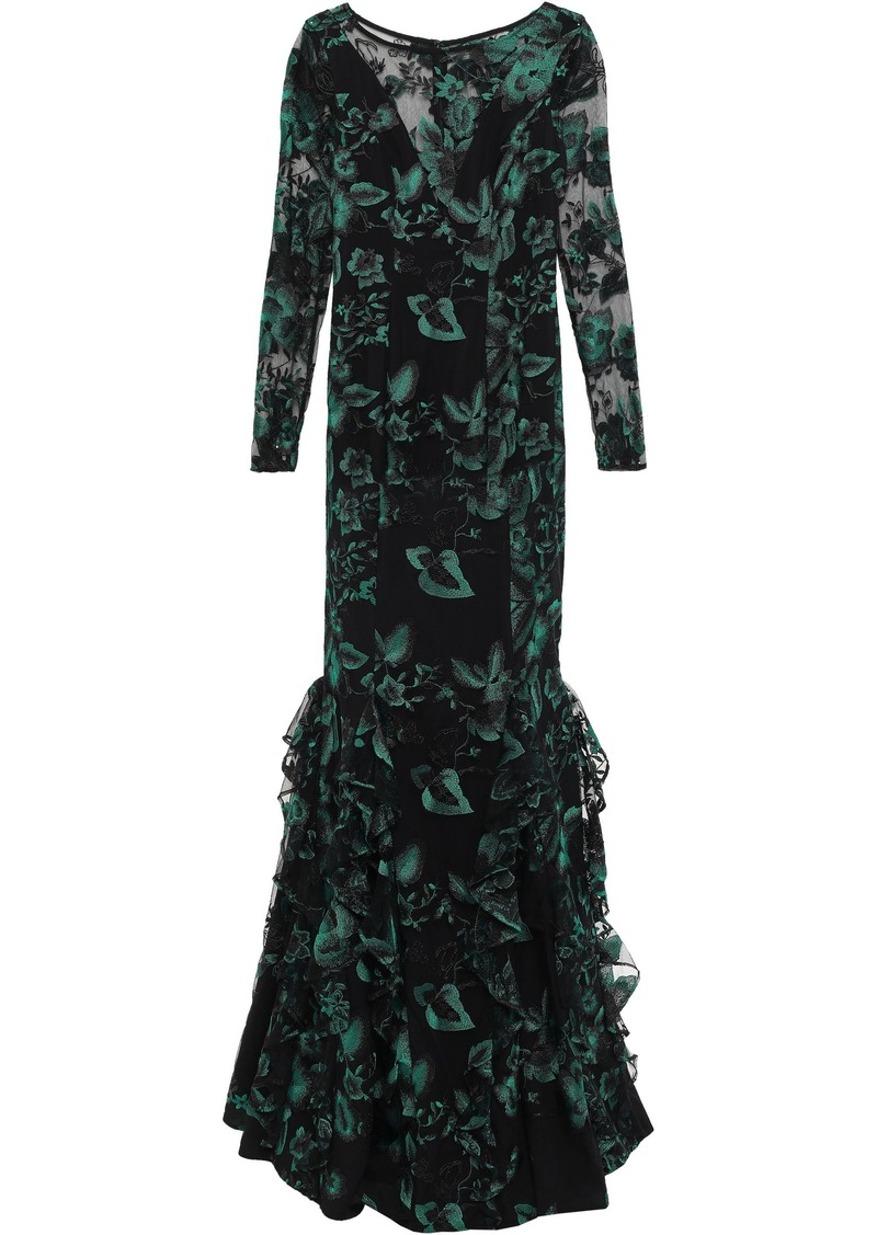 Zac Zac Posen Woman Ruffled Embroidered Tulle Gown Black