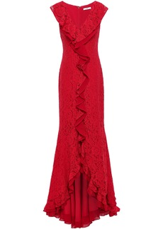 Zac Zac Posen Woman Ruffled Georgette-trimmed Corded Lace Gown Red
