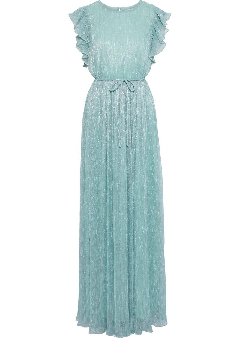 Zac Zac Posen Woman Samantha Ruffled-trimmed Metallic Plissé Stretch-knit Gown Mint