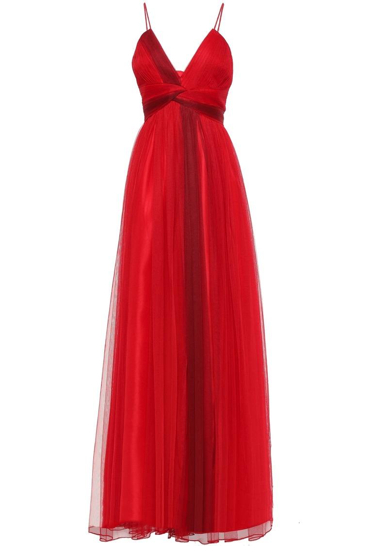 Zac Zac Posen Woman Twist-front Tulle Gown Claret