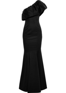 Zac Zac Posen Woman Vaille One-shoulder Ruffled Faille Gown Black
